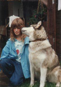 Sylvia mit Alaskan Malamute Annooky 1988